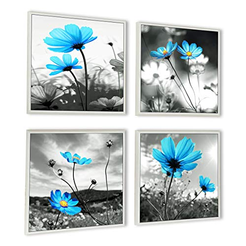 HLJ ART Modern Salon Theme Black and White Peacock Blue Vase Flower Abstract Painting Still Life Canvas Wall Art for Home Decor 12x12inches 4pcs/Set (Outer Frames, 16x16inchx4pcs)