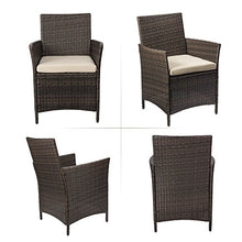 Load image into Gallery viewer, Devoko Patio Porch Furniture Set 3 Piece PE Rattan Wicker Chairs Beige Cushion with Table Outdoor Garden Furniture Sets (Brown)