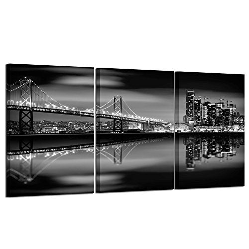 Kreative Arts San Francisco Bay at Night in Black and White Bridge Canvas Prints, Multicolor
