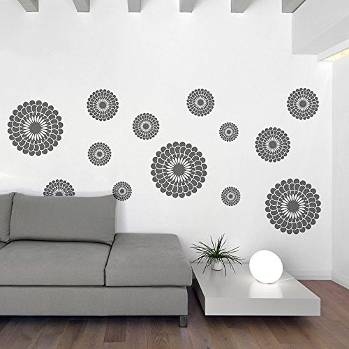 Dooboe Gray Flowers Wall Decal - Flower Wall Stickers - Peel and Stick Wall Decals