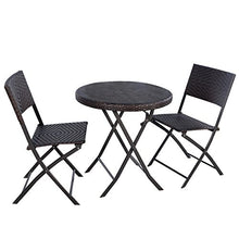 Load image into Gallery viewer, Giantex 3PC Folding Round Table & Chair Bistro Set Rattan Wicker Outdoor Furniture