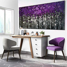 Load image into Gallery viewer, 100% Hand Painted Purple Pink Leaves Forest Birch Trees Home Wall Decor Art Oil Paintings Wood Framed Contemporary Abstract Canvas Palette Knife Artwork Landscape 3D Hand-Painted Ready to Hang Gifts