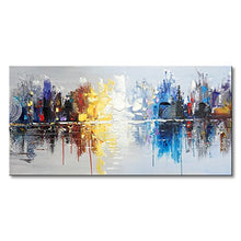 Load image into Gallery viewer, Hand Painted Cityscape Modern Oil Painting on Canvas Reflection Abstract Wall Art Decor (48 x 24 inch)