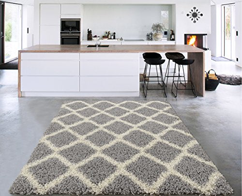 Sweet Home Stores Cozy Collection Moroccan Trellis Design Shag Rug, Contemporary Living and Bedroom Soft Area Rug, Charcoal Grey/Cream