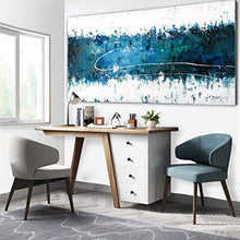 Load image into Gallery viewer, 100% Hand Painting Oil Paintings Modern Abstract Contemporary Teal Blue & White Seascape Forest Handmade Framed Canvas Art Home Interior Wall Decor Palette Knife Acrylic Painting Hand Drawn Paint