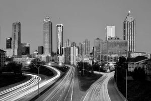 Atlanta Skyline DAWN Black & White BW Downtown City CHOOSE FROM TWO SIZES Photographic Panorama Poster Print Photo Picture Standard Size