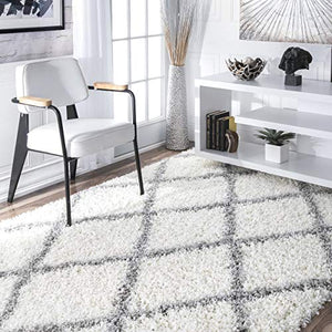 nuLOOM Cozy Soft and Plush Diamond Trellis Shag Area Rug, White, 7' 10