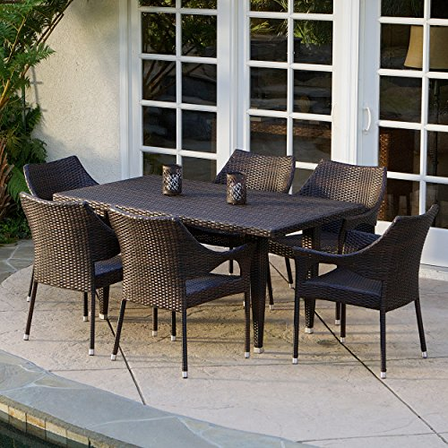 Christopher Knight Home 235369 Stacking Wicker Chairs 7-Piece Outdoor Dining Set, Brown