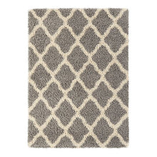Load image into Gallery viewer, Sweet Home Stores Cozy Collection Moroccan Trellis Design Shag Rug, Contemporary Living and Bedroom Soft Area Rug, Charcoal Grey/Cream