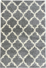 "Load image into Gallery viewer, Ottomanson Collection shag Trellis Area Rug, 6'7"" X9'3, Grey"