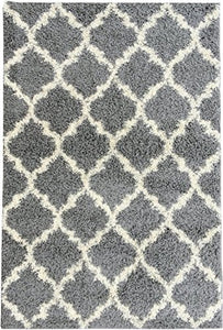 "Ottomanson Collection shag Trellis Area Rug, 6'7"" X9'3, Grey"