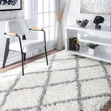 "Load image into Gallery viewer, nuLOOM Cozy Soft and Plush Diamond Trellis Shag Area Rug, White, 7' 10"" x 10'"