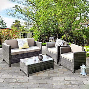 Wisteria Lane Outdoor Patio Furniture Set,5 Piece Conversation Set Rattan Sectional Sofa Couch Loveseat Chair Gray Wicker,Tan Cushions
