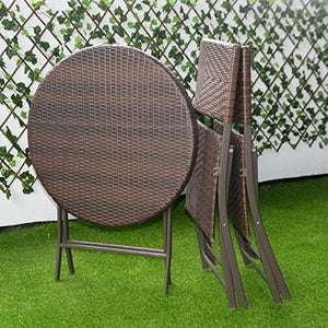 Giantex 3PC Folding Round Table & Chair Bistro Set Rattan Wicker Outdoor Furniture
