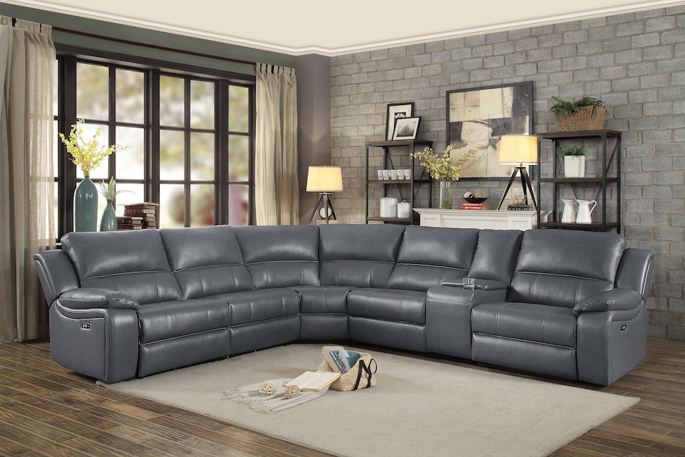 Modern Smart Power Sectional-  3 Recliners w/2 Built in USB Ports