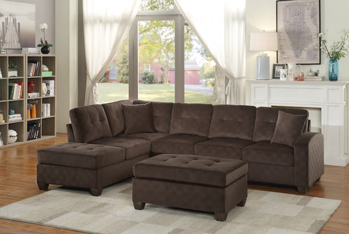 Chocolate Brown Reversible Sectional with Chaise Lounge