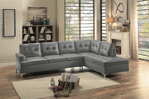 Black Bi-Cast Vinyl Sectional 3 Colors! Gray, Brown or Black