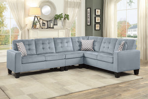 Gray Nailhead Reversible Sectional