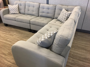 Gray Tufted Reversible Fabric Sectional Sofa 2 Colors! Gray & Chocolate