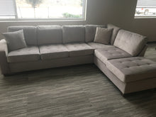 Load image into Gallery viewer, Taupe Reversible Microfiber Sectional with Chaise Lounge