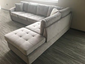 Taupe Reversible Microfiber Sectional with Chaise Lounge