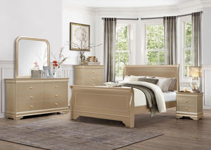 King Arthur Gold Sleigh Bedroom Set