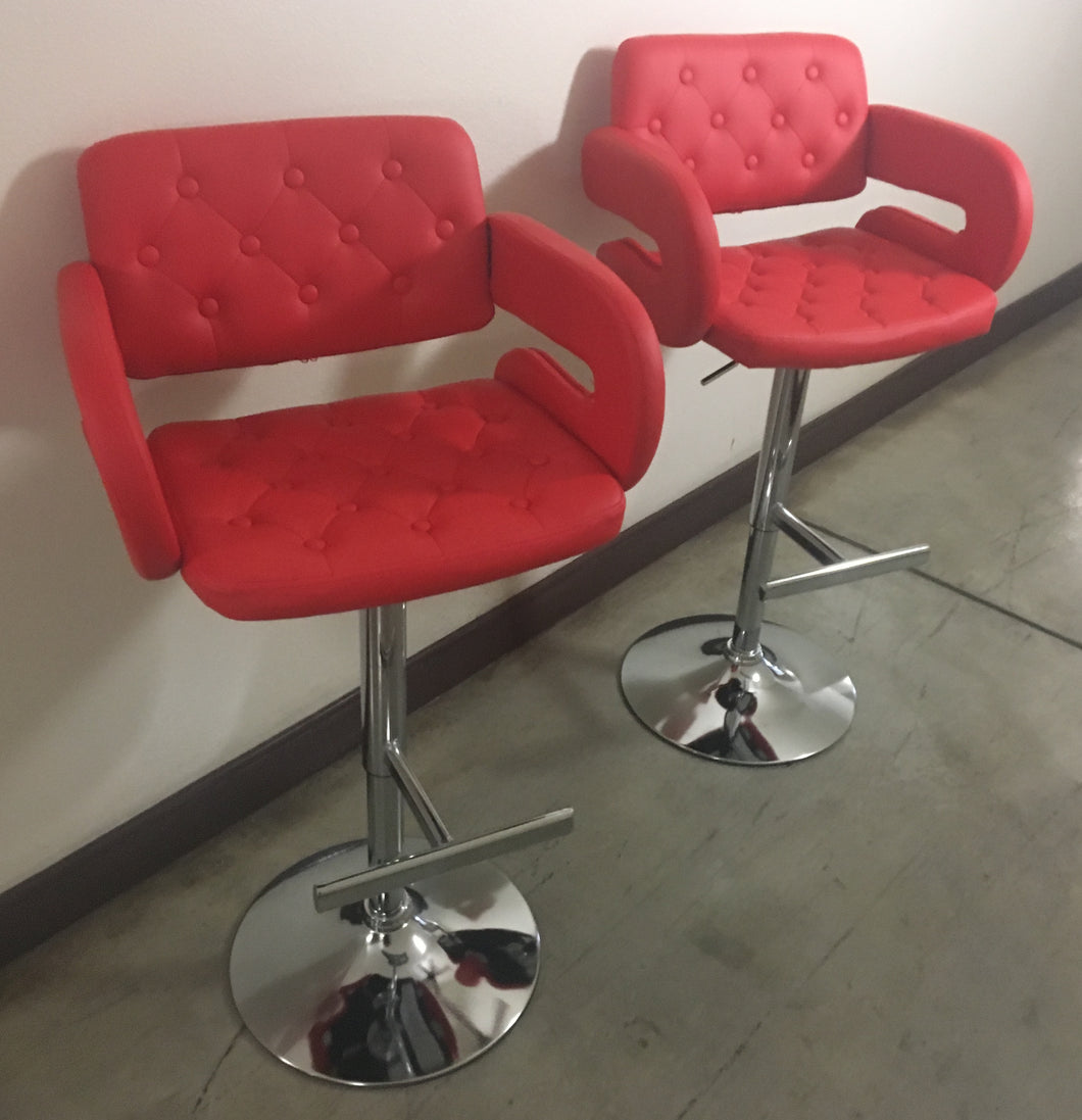 Red Adjustable Height Airlift Swivel Stools