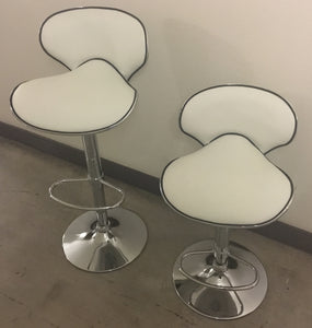 Casual White Vinyl Gas Lift Swivel Stools