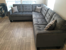 Load image into Gallery viewer, Gray Nailhead Reversible Sectional