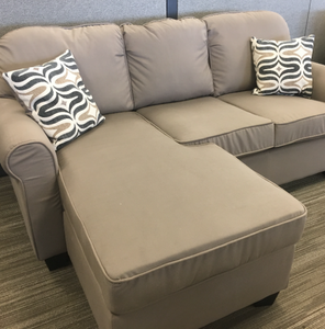 Light Brown Reversible Sofa with Chaise Lounge
