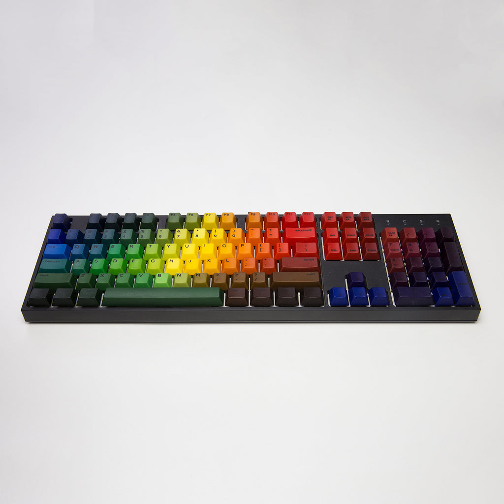104 PBT Dip Dye Rainbow Keycaps with Dye Sublimation Characters - ANSI US Layout