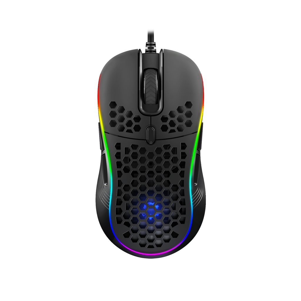 DREVO Owlet Wired RGB Lightweight Gaming Mouse, PixArt PMW3325 with Max 10000 DPI, Ambidextrous Design for Left&Right Hand, 8 Programmable Buttons, Honeycomb Shell with Ultra-Weave Cable