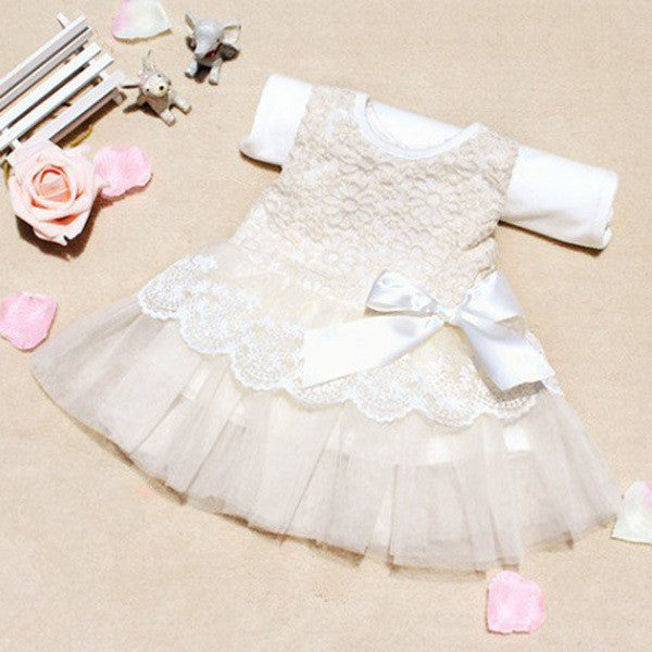 Spring/Summer Sleeveless Lace Dress for Baby Girls with Bow and Tulle Detail 6-24M - FOR MY LITTLE ANGELS