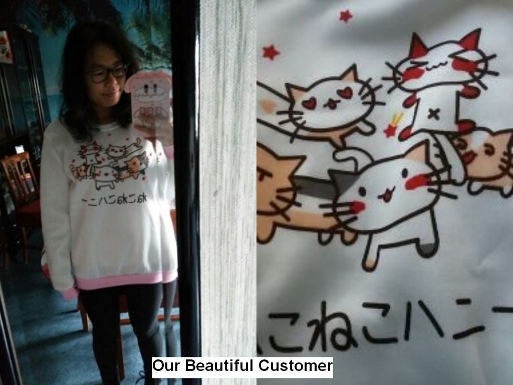 Harajuku Cat Print Sweatshirt for Women - FOR MY LITTLE ANGELS