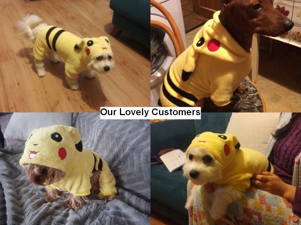 Pikachu Costume Suit for Pets with Ear-shape Hood  (1pc) - FOR MY LITTLE ANGELS