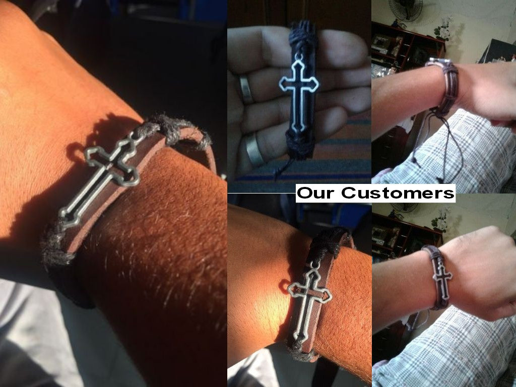 Cross Charm Leather and Rope Bracelet - FOR MY LITTLE ANGELS