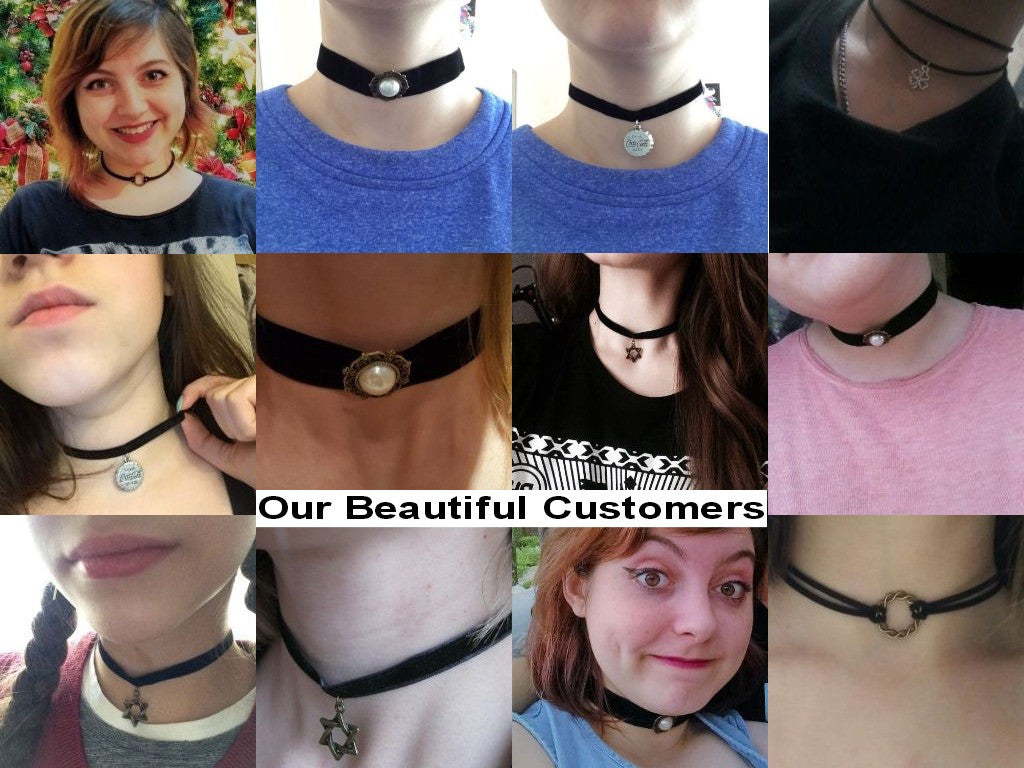 Black Velvet and Rope Choker with Pendants for Women - FOR MY LITTLE ANGELS