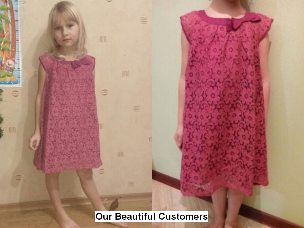 Casual Summer Style Lace Dress with Bow for Girls for 2-10T - FOR MY LITTLE ANGELS