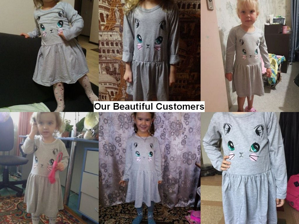 Casual Long Sleeve Cat Print Dress for Girls for 2-8T - FOR MY LITTLE ANGELS