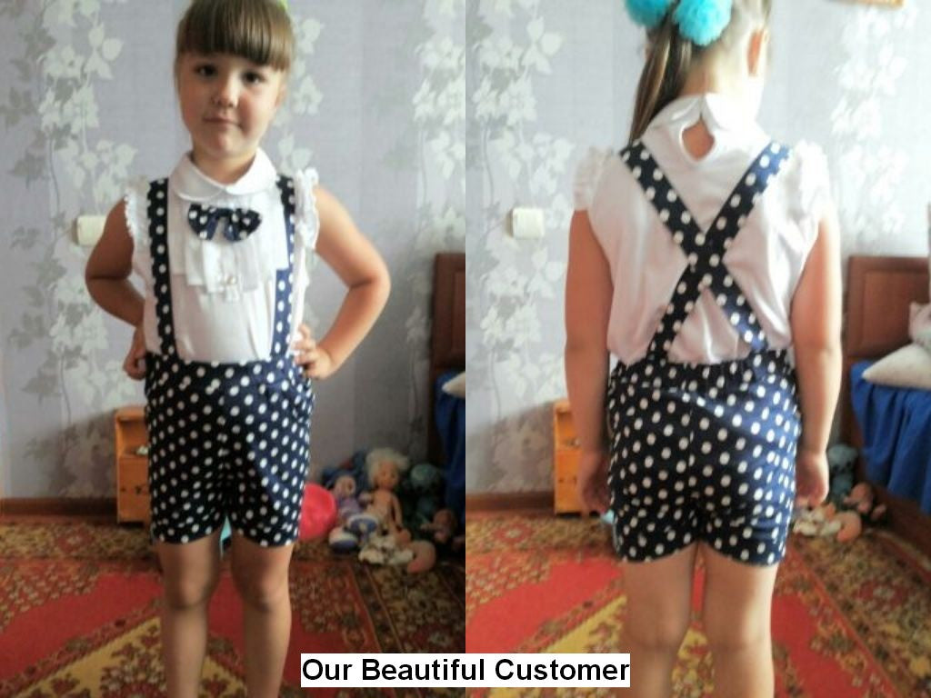 Girls Set with Bow Short Sleeve Shirt and Polka Dot Shorts (2pcs) 2-6T - More Colors Available - FOR MY LITTLE ANGELS
