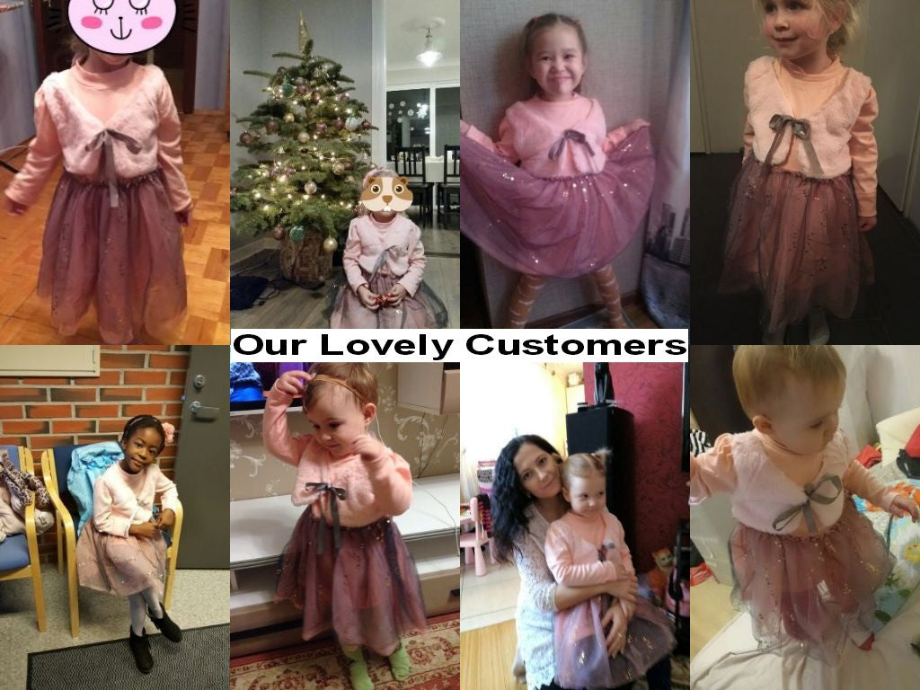 Longsleeve Dress for Girls with Wool Bow Top and Mesh Bottom 3-7T - FOR MY LITTLE ANGELS