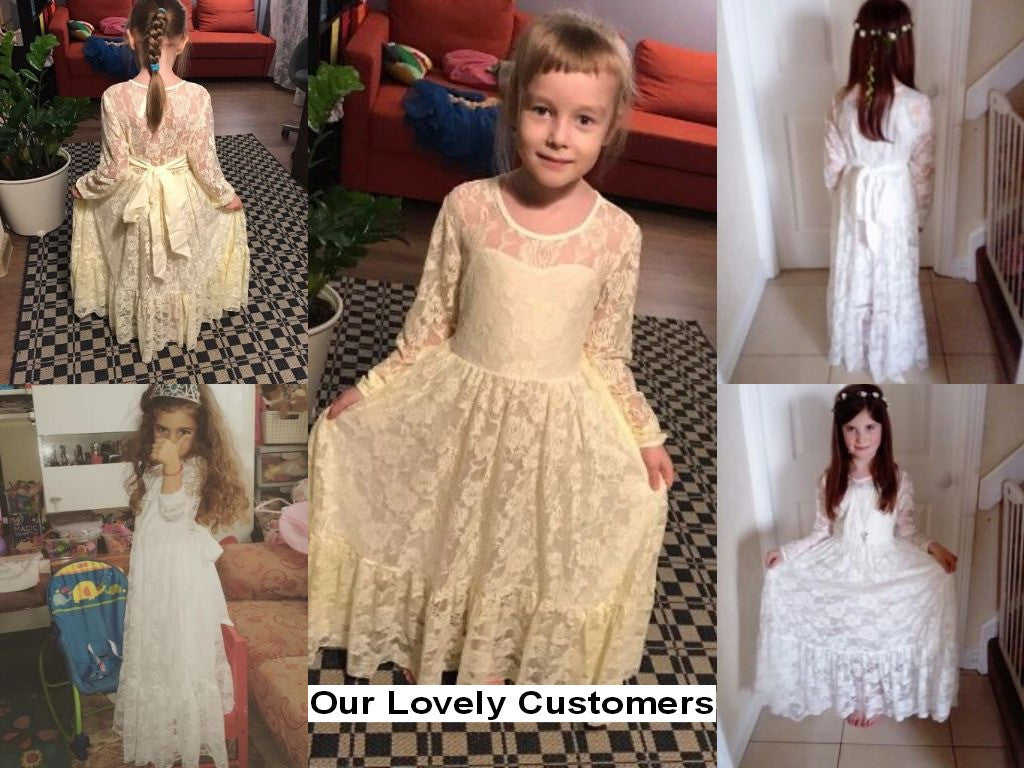 Lace Longsleeve Dress for Baby Girls with Big Bow in Princess Design for 2-12T - FOR MY LITTLE ANGELS