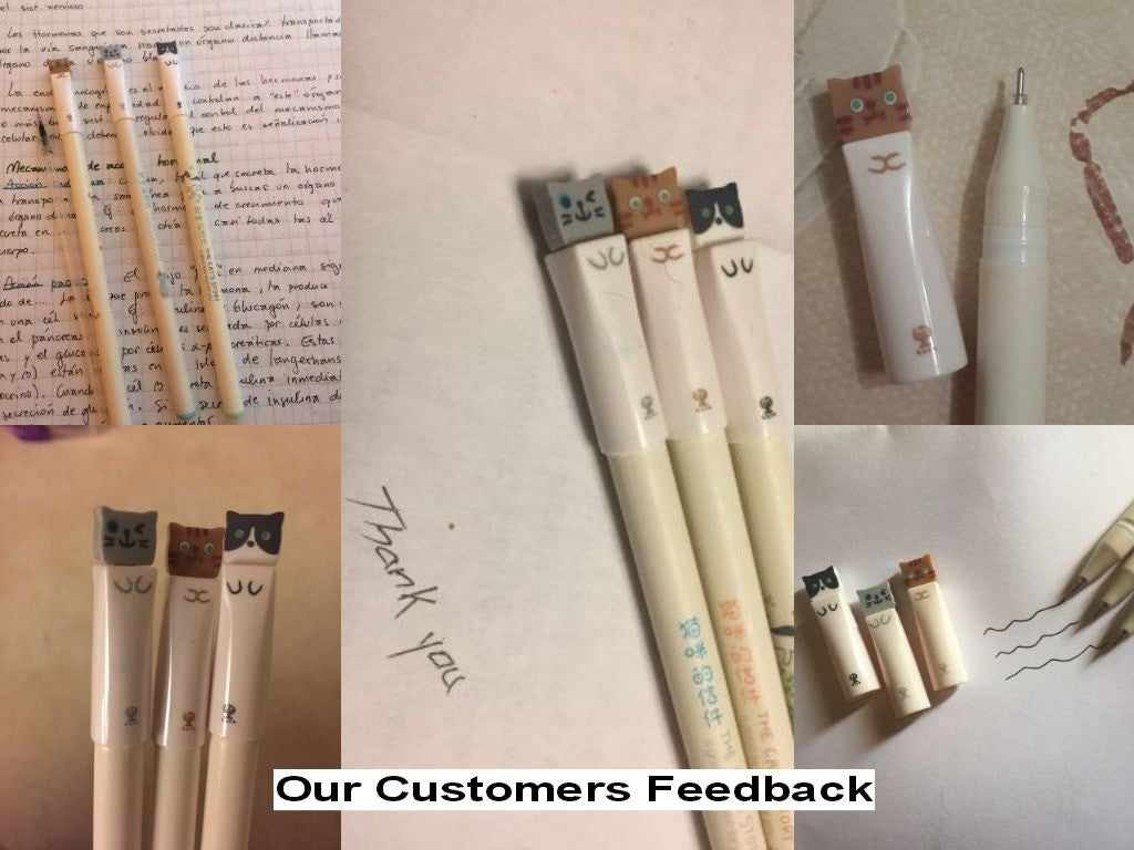 Cute Cat Gel Ink Pen for School Supplies (3pcs) - FOR MY LITTLE ANGELS