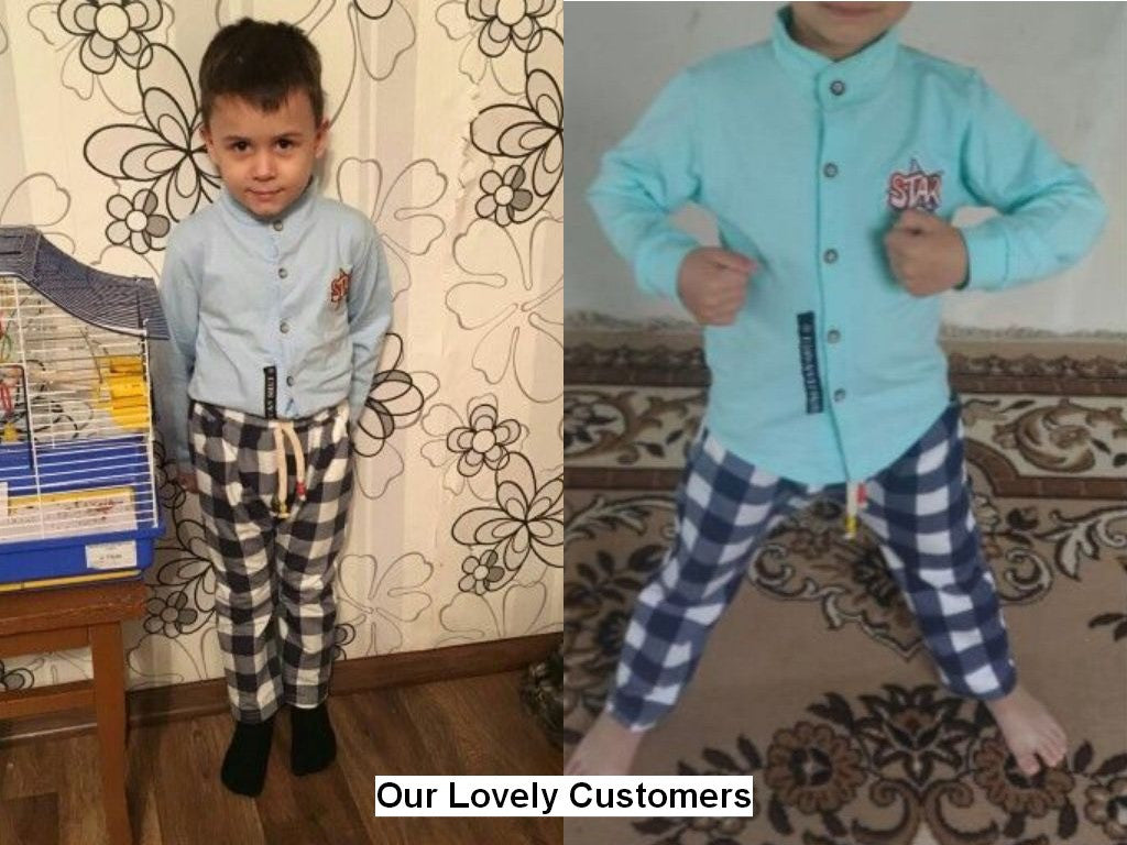 Summer/Spring Baby Boys Clothing Set with Long Sleeve Cotton Shirt and Plaid Pants (2pcs) 18M-4T - FOR MY LITTLE ANGELS
