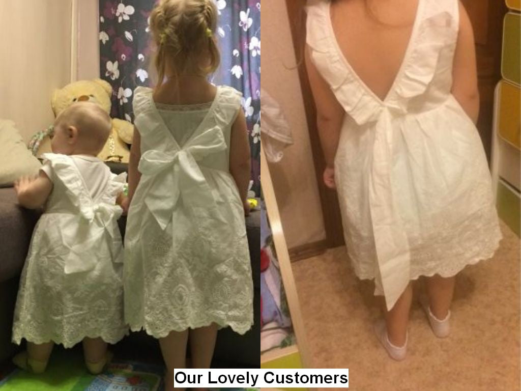 Spring/Summer Baby Girls White Sleeveless Dress with Bow and Lace Detail 2-8T - FOR MY LITTLE ANGELS