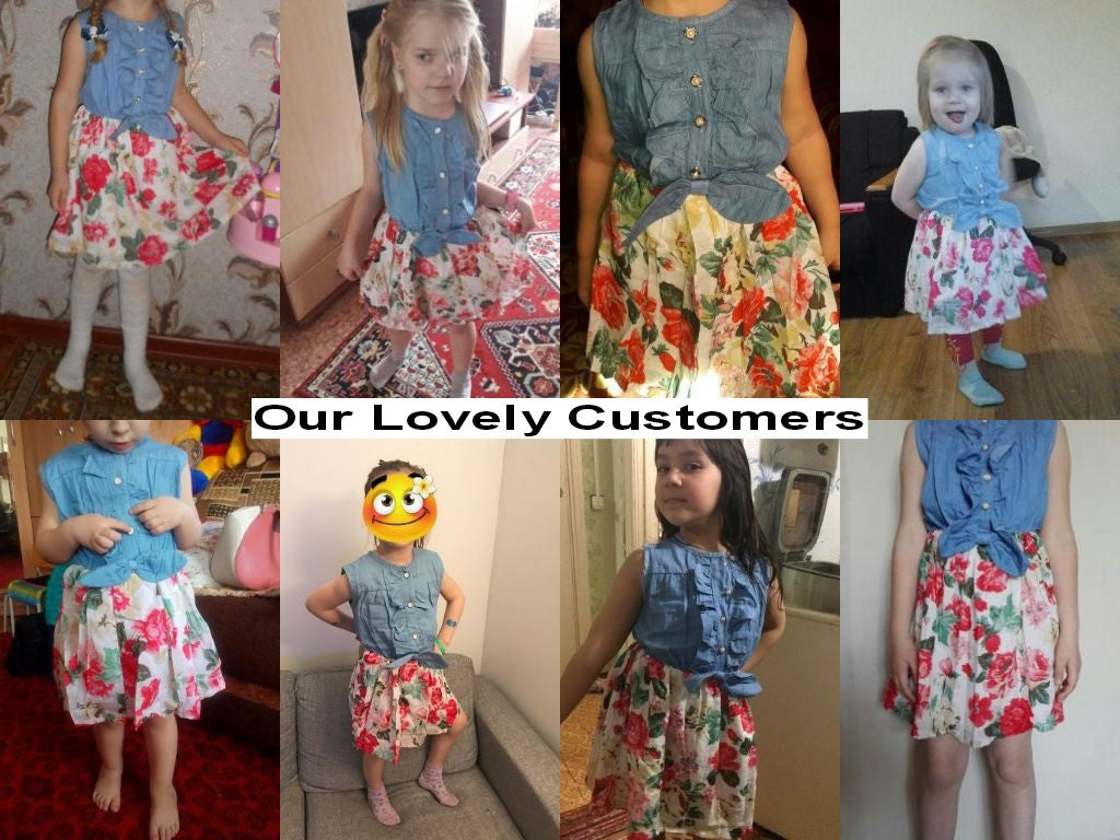 Spring/Summer Baby Girls Sleeveless Dress with Denim Top and Floral Print Bottom 2-9T - FOR MY LITTLE ANGELS
