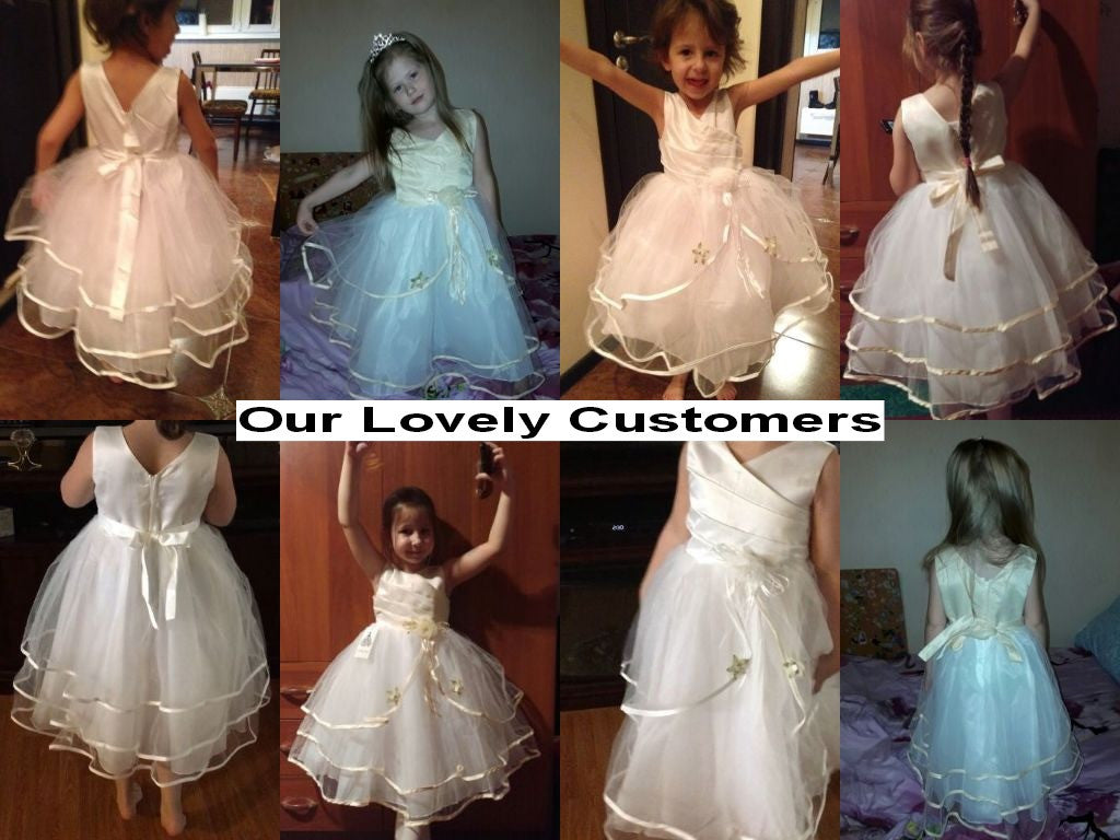 Baby Girls Sleeveless Dress in Wedding Style with Tulle Bottom 4-10T - FOR MY LITTLE ANGELS