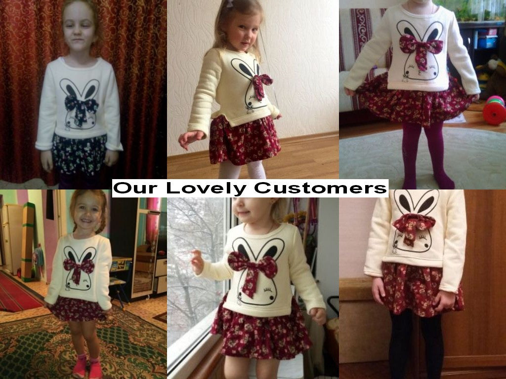 Autumn/Winter Baby Girls Dress with Rabbit Printed Top and Floral Skirt Bottom (1pc) 2-6T - FOR MY LITTLE ANGELS