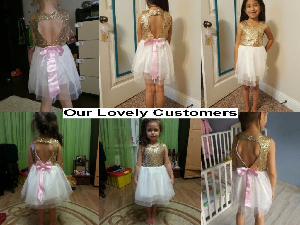 Spring/Summer Sleeveless Girls Dress with Gold Seuin Top and White Soft Tulle Bottom and Heart Shape Cut-out Back 3-8T - FOR MY LITTLE ANGELS