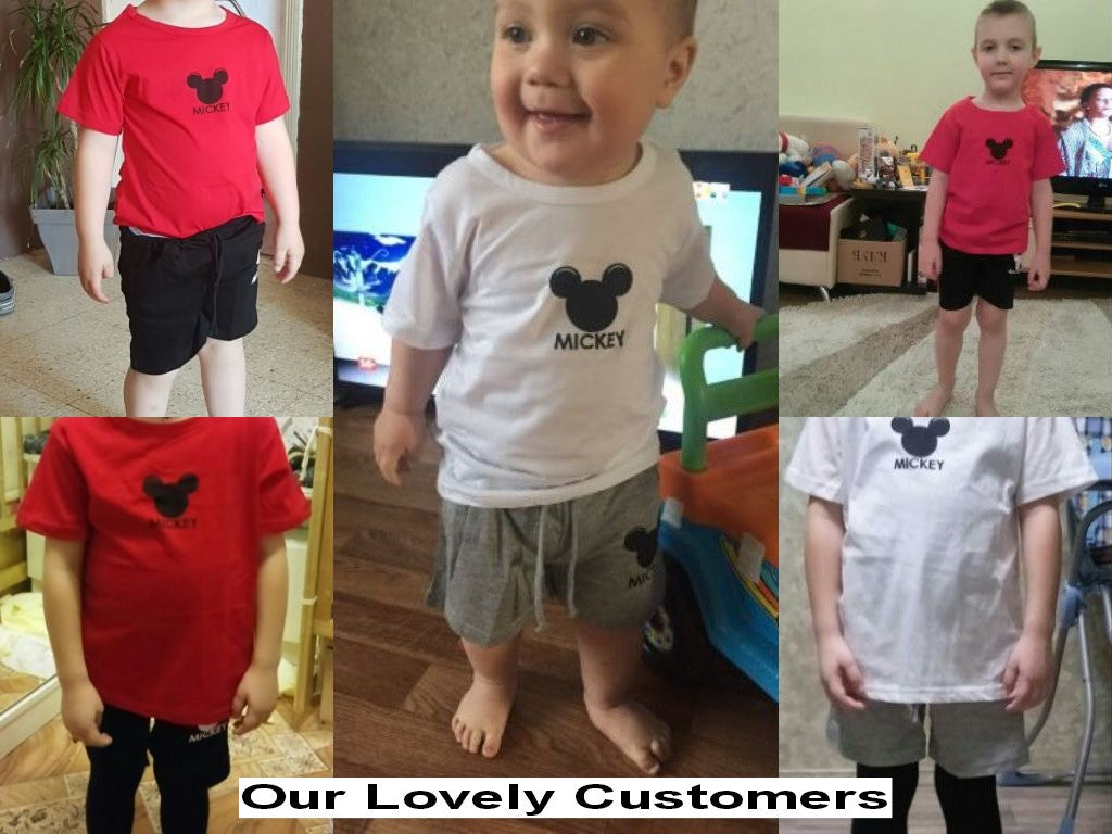 Spring/Summer Unisex Baby Clothing Set with Mickey Mouse Printed T Shirt and Shorts (2pcs) 2-6T - FOR MY LITTLE ANGELS